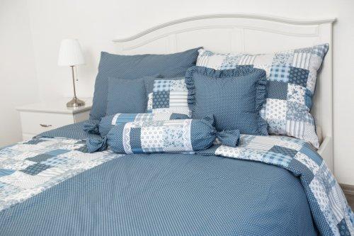 Bavlněné povlečení Modrý patchwork/puntík (2)