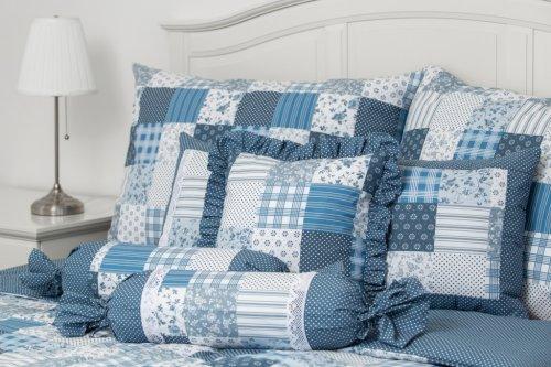 Bavlněné povlečení Modrý patchwork/puntík (1)